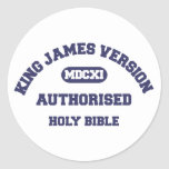 King James Version Authorised Holy Bible in blue Round Sticker