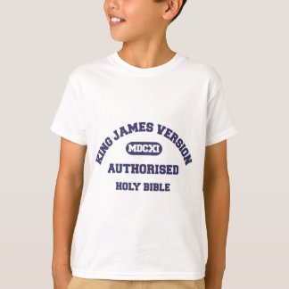King James Version Authorised Holy Bible in blue T-Shirt