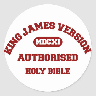 King James Version Authorised in red Classic Round Sticker