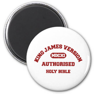 King James Version Authorised in red distressed 2 Inch Round Magnet