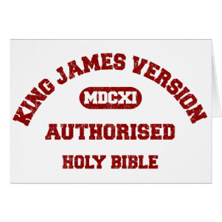 King James Version Authorised in red distressed Card