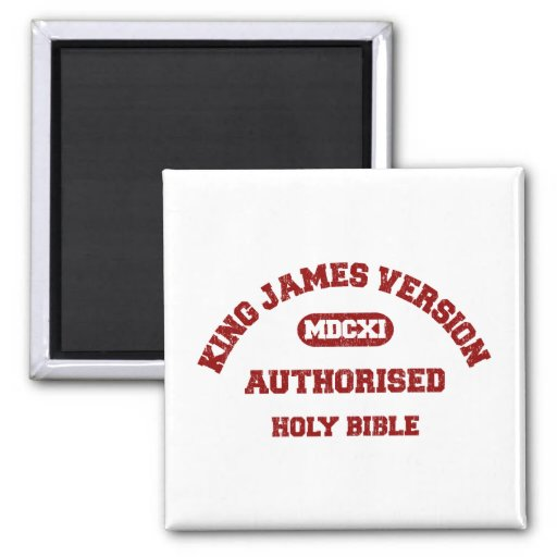 King James Version Authorised in red distressed Magnets