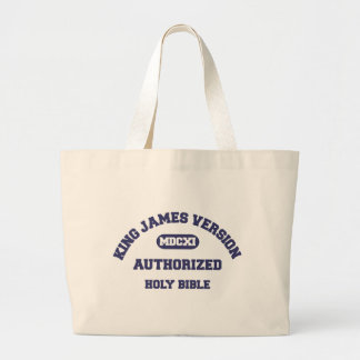 King James Version Authorized Holy Bible in blue Large Tote Bag