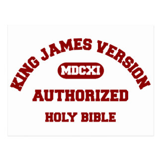 King James Version Authorized Holy Bible in red Postcard