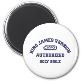 King James Version Authorized in blue distressed 2 Inch Round Magnet