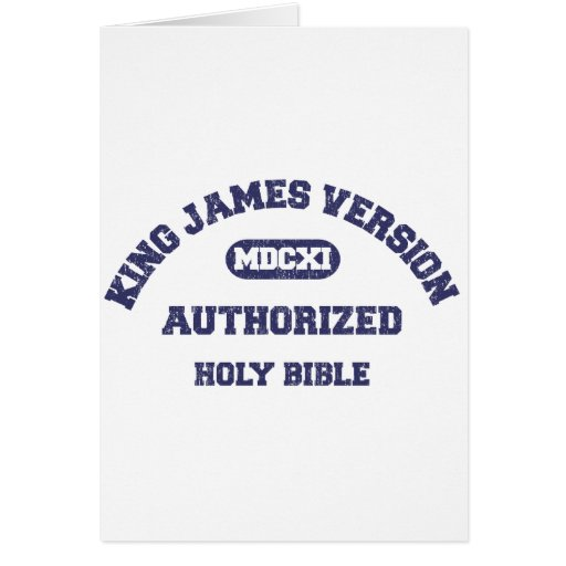 King James Version Authorized in blue distressed Greeting Card