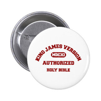 King James Version Authorized in red distressed Button