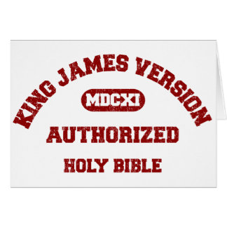 King James Version Authorized in red distressed Card