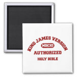 King James Version Authorized in red distressed Fridge Magnets