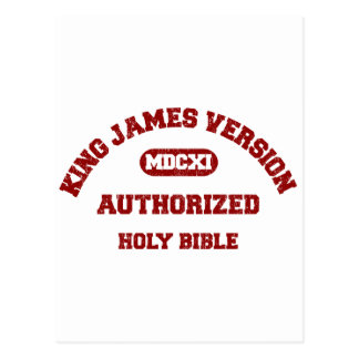 King James Version Authorized in red distressed Postcard