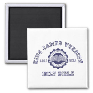 King James Version College Style Crest in blue 2 Inch Square Magnet