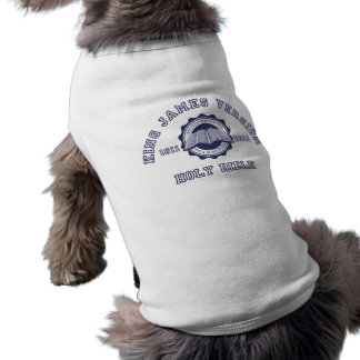 King James Version College Style Crest in blue Doggie Tee Shirt
