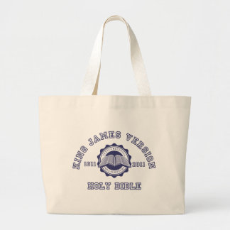 King James Version College Style Crest in blue Large Tote Bag