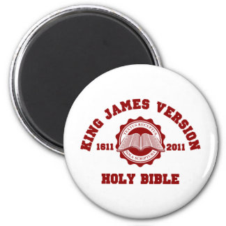 King James Version College Style Crest Solid Red 2 Inch Round Magnet