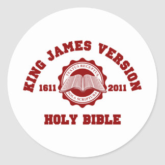 King James Version College Style Crest Solid Red Classic Round Sticker