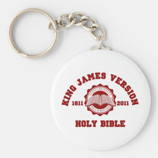 King James Version College Style Crest Solid Red Keychain