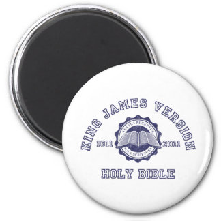 King James Version College Style in blue distress 2 Inch Round Magnet