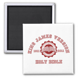 King James Version College Style in red distressed 2 Inch Square Magnet