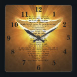 """King James Version Psalm 23 Bible Scripture Square Wall Clock<br><div class=""""desc"""">This King James Version Psalm 23 Bible Scripture square wall clock,  has in the background,  a gold image of the holy spirit,  and the bible scripture from Psalm 23:1-6,  THE LORD IS MY SHEPHERD I SHALL NOT WANT. This is a great gift idea,  for anyone,  and for any occasion.</div>"""