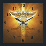 "King James Version Psalm 23 Bible Scripture Square Wall Clock<br><div class=""desc"">This King James Version Psalm 23 Bible Scripture square wall clock,  has in the background,  a gold image of the holy spirit,  and the bible scripture from Psalm 23:1-6,  THE LORD IS MY SHEPHERD I SHALL NOT WANT. This is a great gift idea,  for anyone,  and for any occasion.</div>"