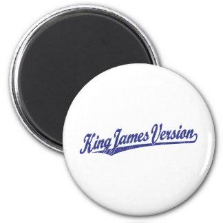 King James Version Script Logo in blue distressed 2 Inch Round Magnet