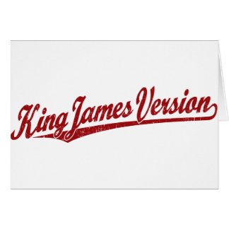 King James Version Script Logo in red distressed Greeting Card