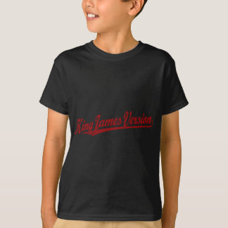 King James Version Script Logo in red distressed T-Shirt
