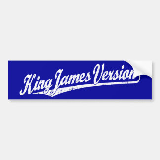 King James Version Script Logo in white distressed Car Bumper Sticker