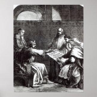 King John  refusing to sign Magna Charta