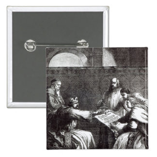 King John  refusing to sign Magna Charta Pinback Button