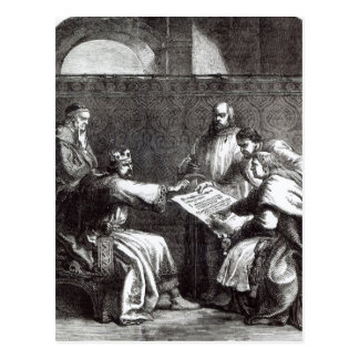 King John  refusing to sign Magna Charta Postcard