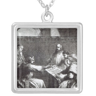 King John  refusing to sign Magna Charta Silver Plated Necklace