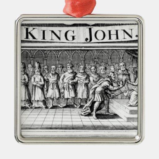 King John surrenders his crown Christmas Ornaments
