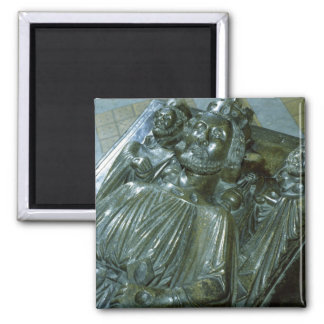 King John's Tomb with two miniature figures 2 Inch Square Magnet