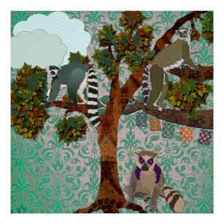 King Jullian & Lemurs Out On A Limb Green Damask P Poster
