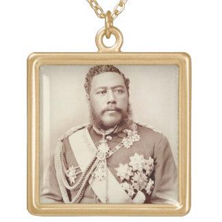 King Kalakaua (1836-91), late c19th (sepia photo) Gold Plated Necklace