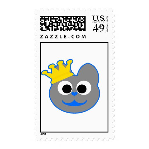 King Kat Blue - Gray Stamp
