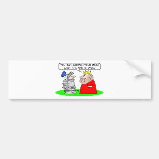 king knight scratch back war over bumper sticker