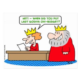 king lady godiva off-budget postcard