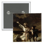 King Lear and the Fool in the Storm 2 Inch Square Button