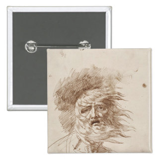 King Lear in the Storm (pen and bistre ink on pape 2 Inch Square Button