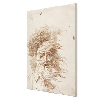 King Lear in the Storm (pen and bistre ink on pape Canvas Print