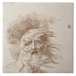 King Lear in the Storm (pen and bistre ink on pape Large Square Tile