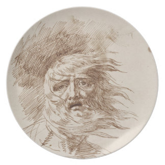King Lear in the Storm (pen and bistre ink on pape Melamine Plate