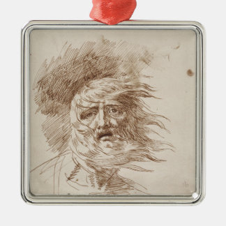 King Lear in the Storm (pen and bistre ink on pape Metal Ornament