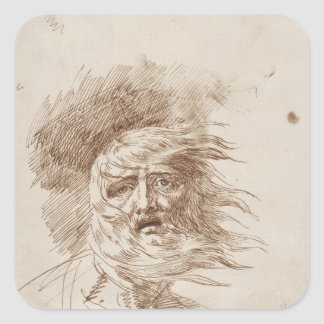 King Lear in the Storm (pen and bistre ink on pape Square Sticker