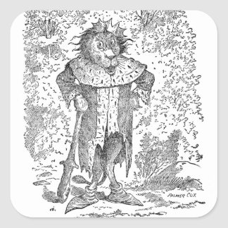 King Leo the Lion Wearing a Crown and Robes Square Sticker