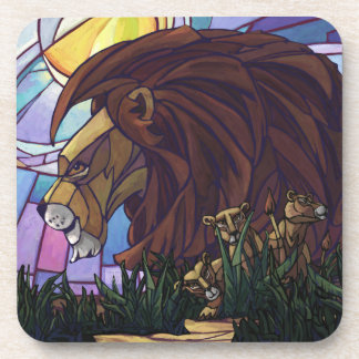 King Lion and Cubs Beverage Coaster