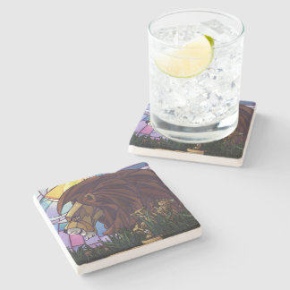 King Lion and Cubs Stone Beverage Coaster