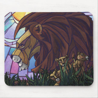 King Lion and Cubs Mouse Pad